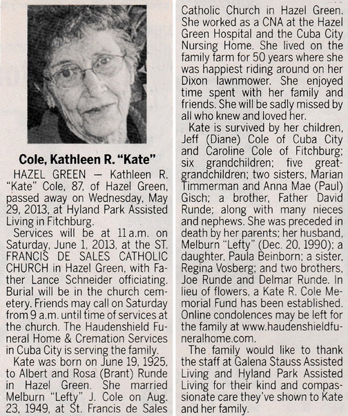 Obituary Names C to G – Fitchburg Historical Society